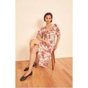 Reformation Larchmont Floral Midi Dress Red 8
